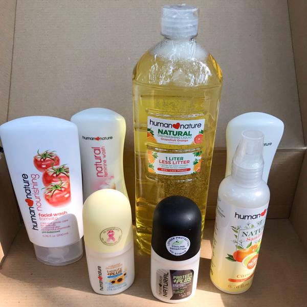 Bottles of natural hygiene essentials