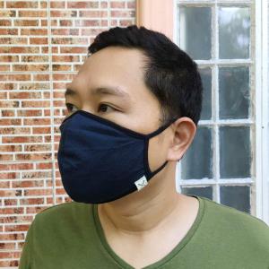Wearing a navy blue reusable face mask