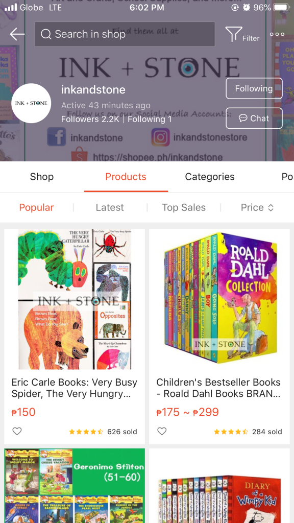Online Bookstore in Shopee