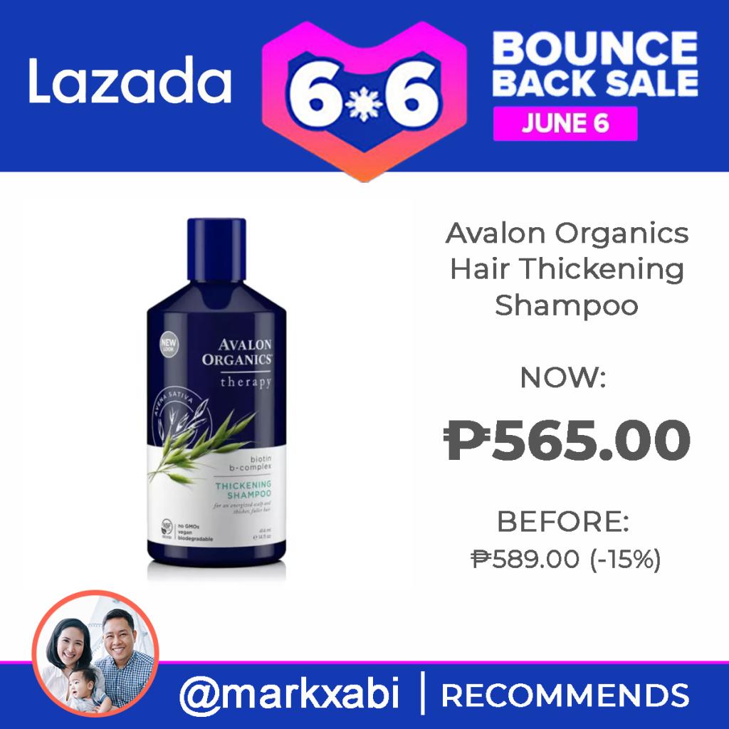 Avalon Organics Hair Thickening Shampoo at Lazada's 6.6. Bounce Back Sale