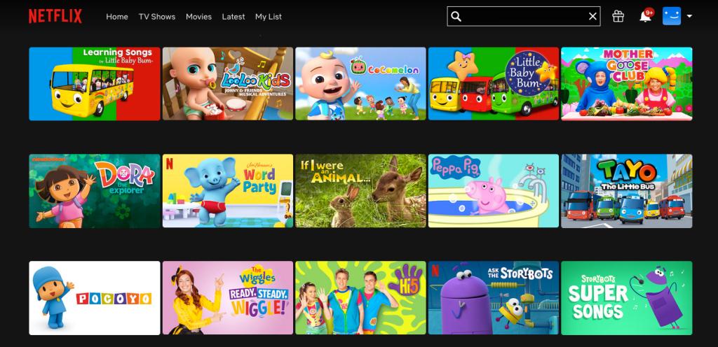Screenshot of netflix kids
