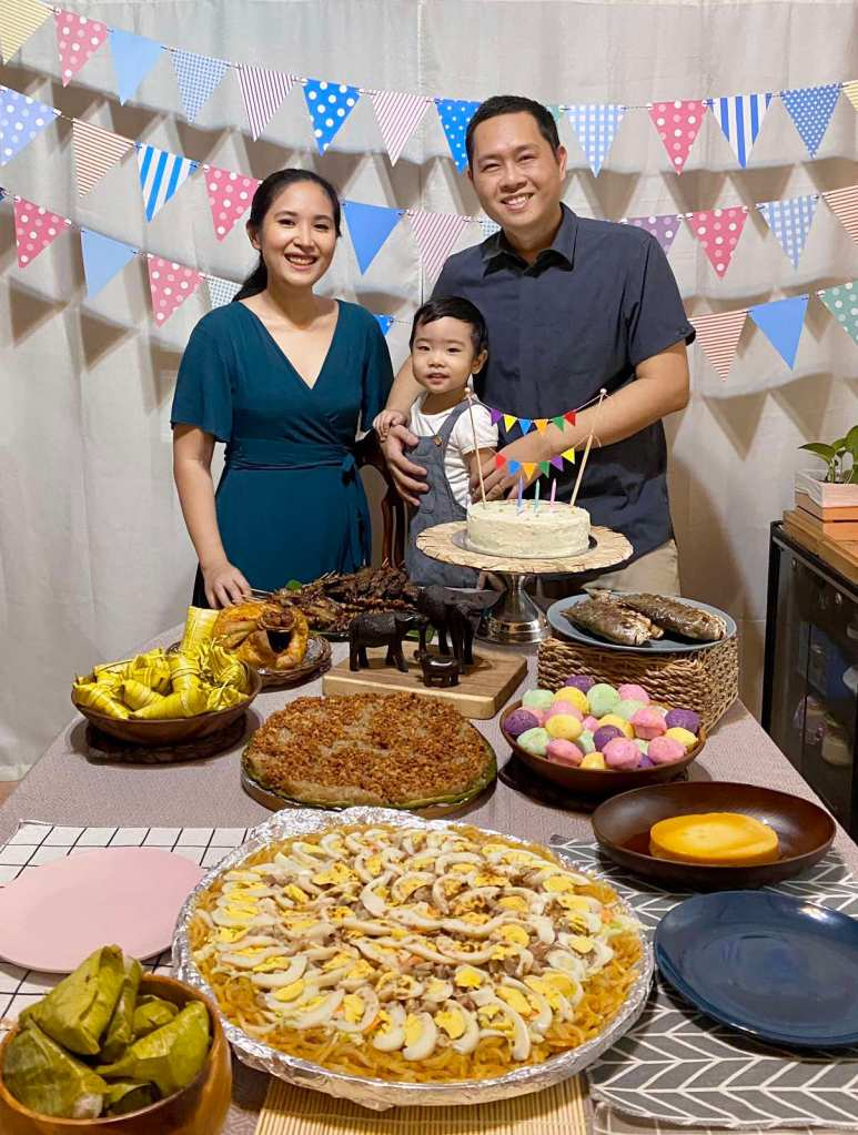 A family in a Filipino-themed party