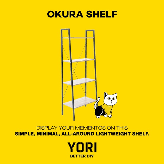Yori DIY furniture branding with cat mascot