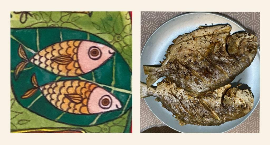 Grilled pampano fish