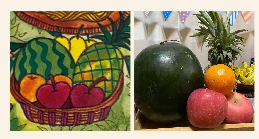 Fruit basket of watermelon, pineapple, orange, and apples