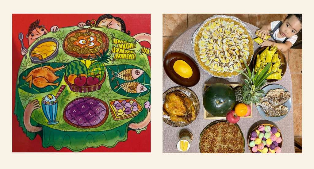 Side by side comparison of the Filipino fiesta food spread from Pista Na! by Adarna House and actual handa