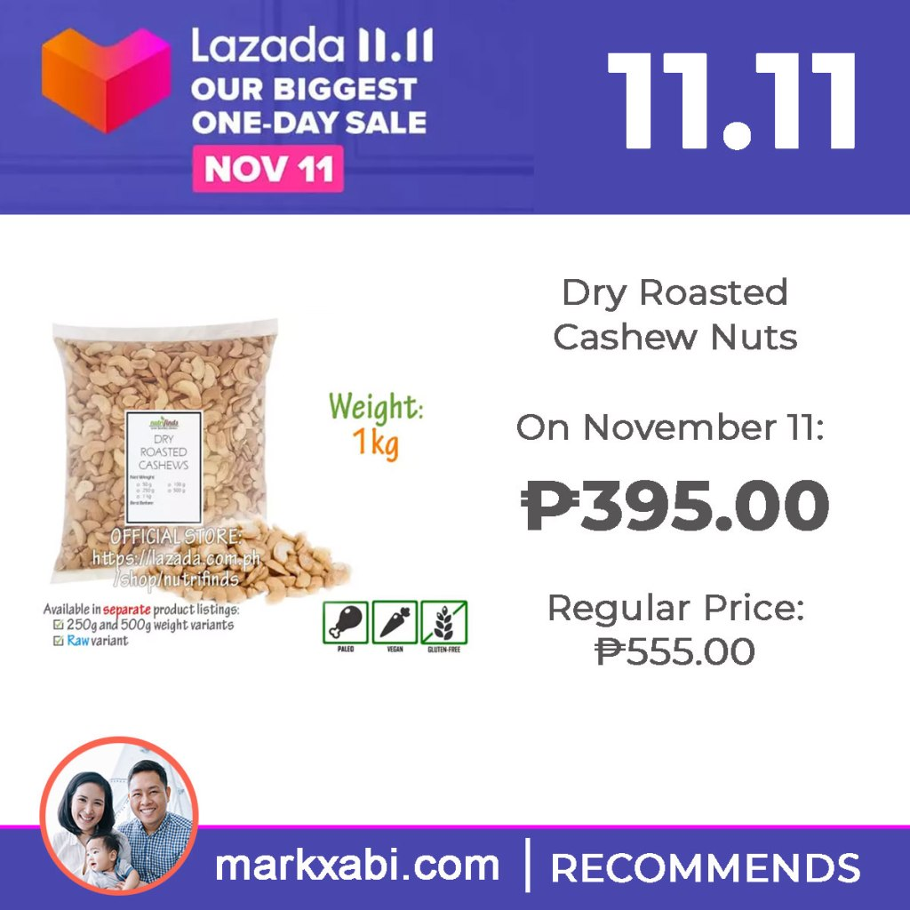 Nutrifinds Dried Roasted Cashews on sale at Lazada's 11.11 Sale
