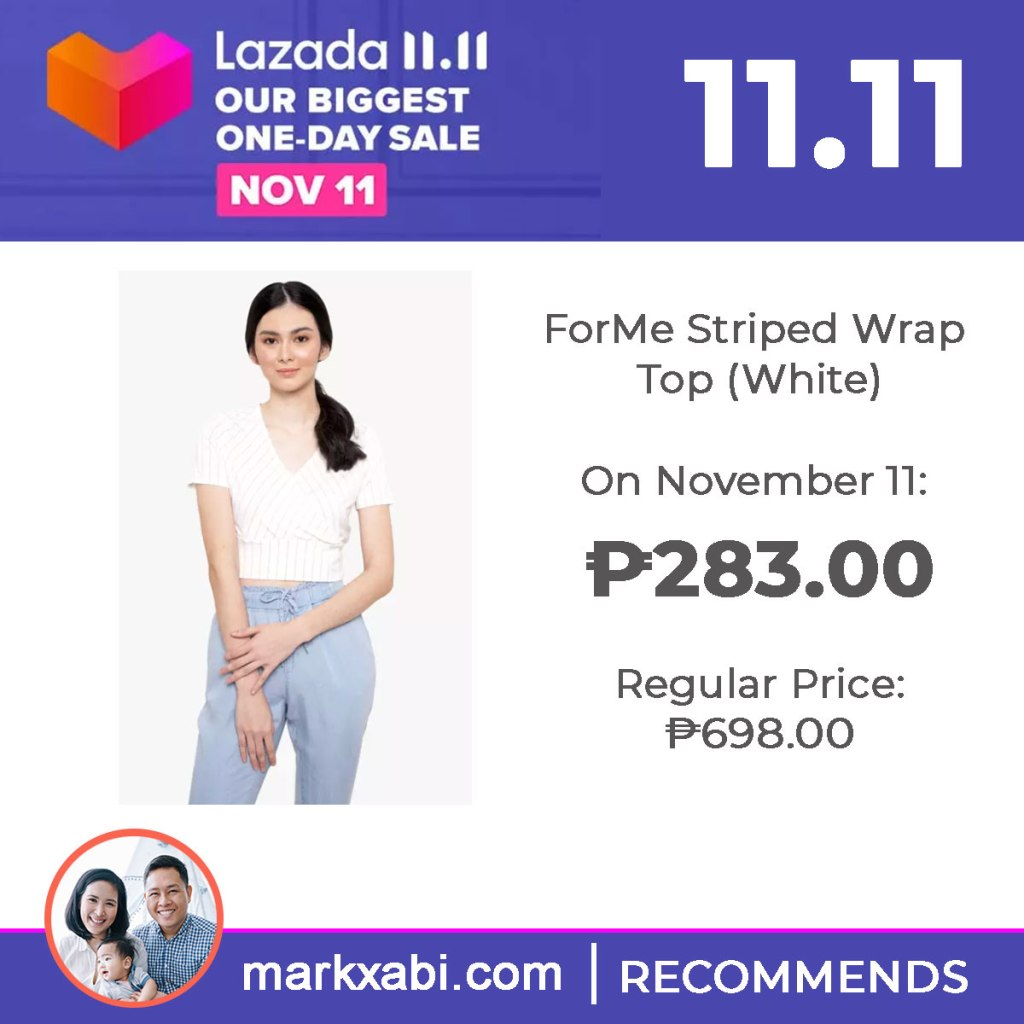ForMe Striped Wrap Top on sale at Lazada's 11.11 Sale