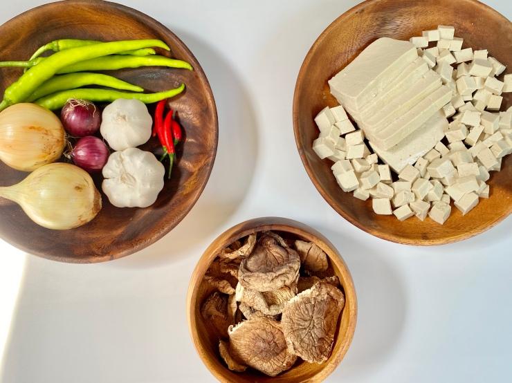 Mushroom and tofu sisig ingredients