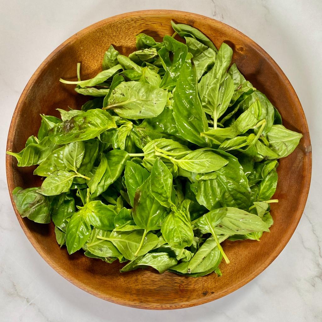 Fresh Basil on a wooden bowl