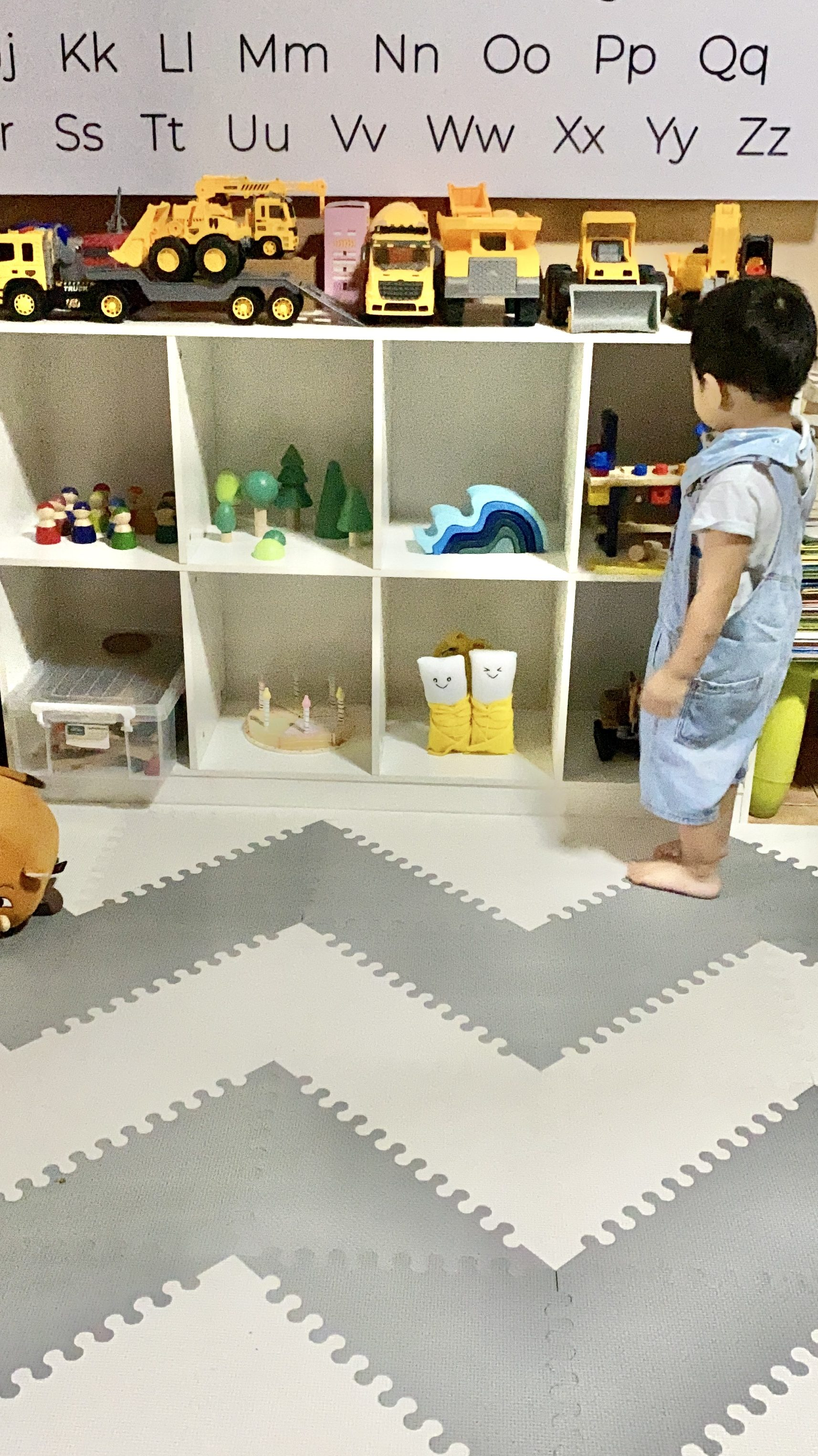 Minimalist gray and white play area