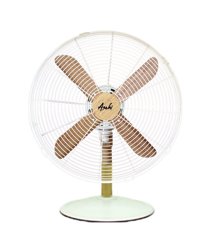 White and Wooden Asahi fan