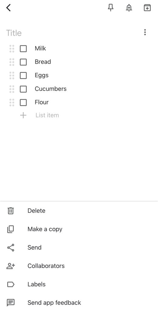 Creating grocery list with Google Keep